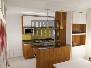 O amarelo dá personalidade à cozinha.