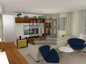 Sala de Estar com prateleiras e nichos a pedido da cliente